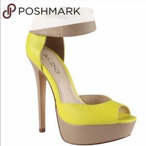 Aldo Camella Platform Neon Green & Tan heels 7.5